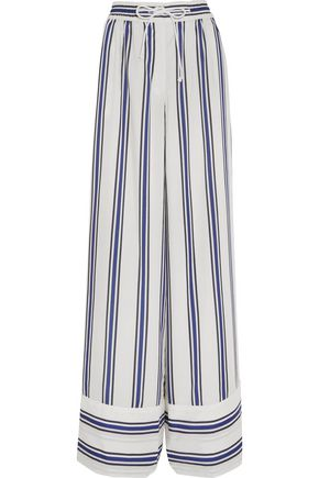 SACAI Striped voile wide-leg pants