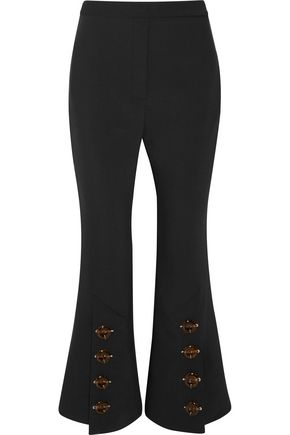 ELLERY Fourth Element button-embellished crepe de chine flared pants
