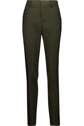 HAIDER ACKERMANN Crepe de chine-paneled wool-felt slim-leg pants