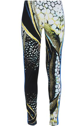 ROBERTO CAVALLI GYM Printed stretch-jersey leggings