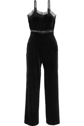 W118 by WALTER BAKER Lexi lace-trimmed velvet jumpsuit