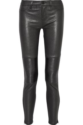 J BRAND Nicola metallic stretch-leather skinny pants