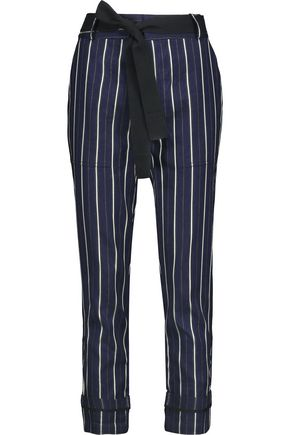 DEREK LAM 10 CROSBY Belted striped twill tapered pants
