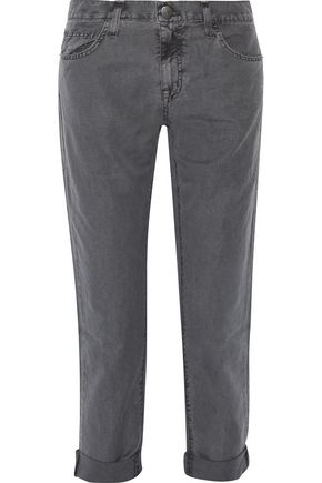 CURRENT/ELLIOTT The Fling slub linen and cotton-blend straight-leg pants