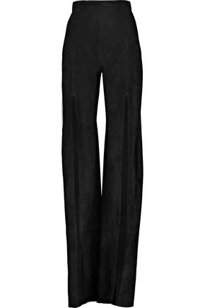 BALMAIN Split-front leather wide-leg pants