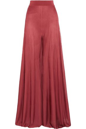 BALMAIN Pleated knitted wide-leg pants