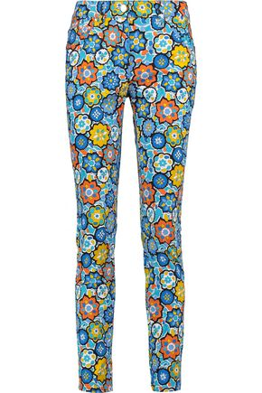 EMILIO PUCCI Cropped printed cotton-blend skinny pants