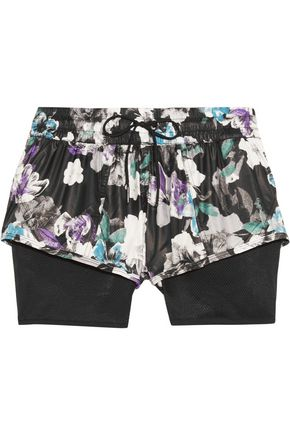 ADIDAS by STELLA McCARTNEY Layered floral-print shell and mesh shorts