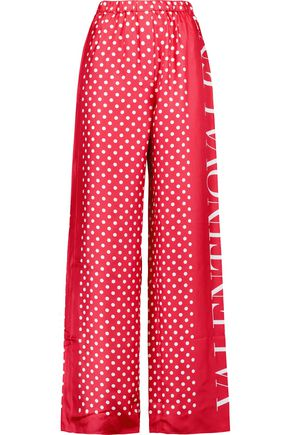 VALENTINO Printed silk-satin wide-leg pants
