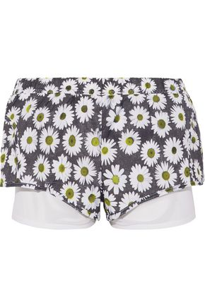 ADIDAS by STELLA McCARTNEY Layered floral-print shell and stretch-mesh shorts