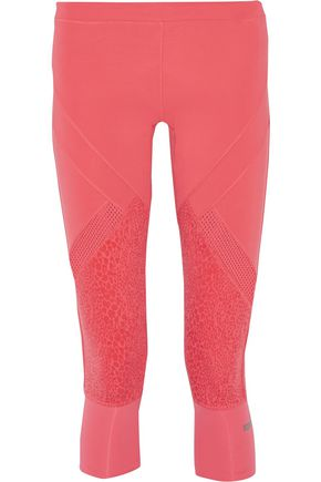 ADIDAS by STELLA McCARTNEY Cropped mesh-paneled printed stretch leggings