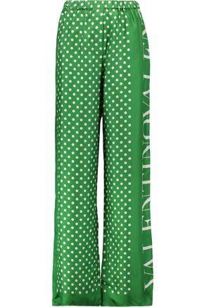 VALENTINO Polka-dot silk wide-leg pants