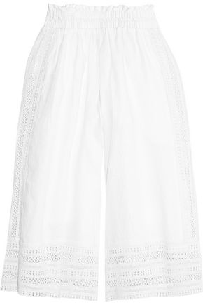 MIGUELINA Margaret paneled crochet-trimmed linen and cotton culottes