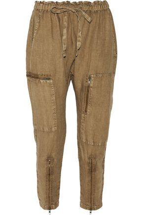 CURRENT/ELLIOTT The Zip Cargo linen tapered pants