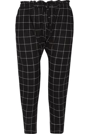CURRENT/ELLIOTT The Aviation cropped plaid cotton-blend tapered pants