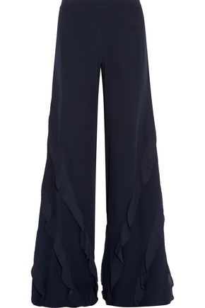 ALEXIS Julless ruffle-trimmed crepe wide-leg pants