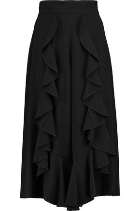 ALEXIS Mulan ruffle-trimmed crepe culottes