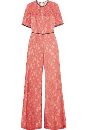ALEXIS Janus open-back guipure lace and open-mesh jumpsuit