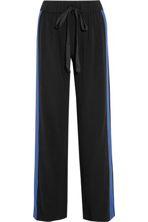 ALEXIS Stripe-trimmed satin straight-leg pants