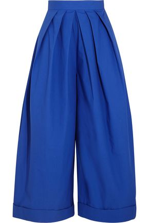 DELPOZO Pleated cotton-poplin wide-leg pants