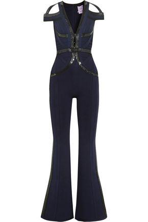 HERVÉ LÉGER Bethany cold-shoulder sequin-embellished bandage jumpsuit