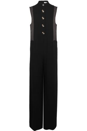 LANVIN Chiffon-paneled embellished crepe de chine jumpsuit