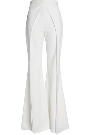BALMAIN Layered satin-crepe flared pants