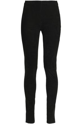 BALMAIN Suede slim-fit pants