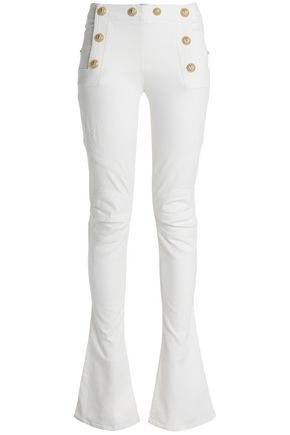 BALMAIN Button-embellished mid-rise bootcut jeans