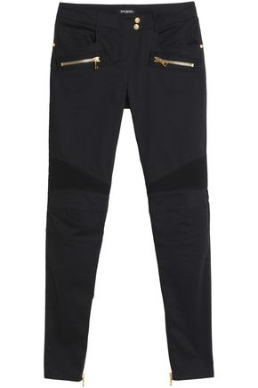 BALMAIN Moto-style cotton-blend skinny pants