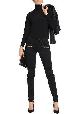 BALMAIN Moto-style cotton-blend skinny pants