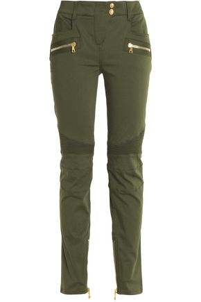 BALMAIN Cotton-blend slim-leg pants