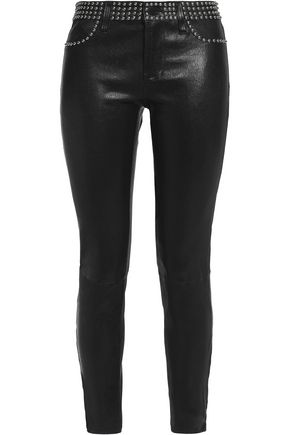 L'AGENCE Studded leather skinny pants