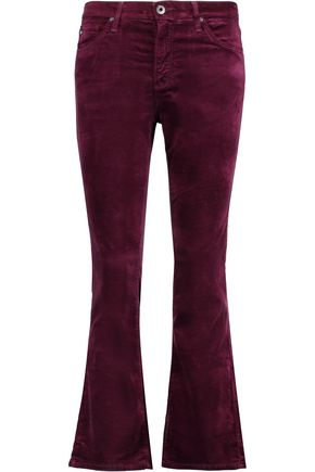 AG ADRIANO GOLDSCHMIED Cropped cotton-velvet mid-rise bootcut pants