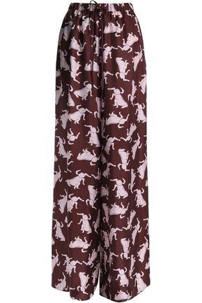 VIONNET Printed silk-twill wide-leg pants