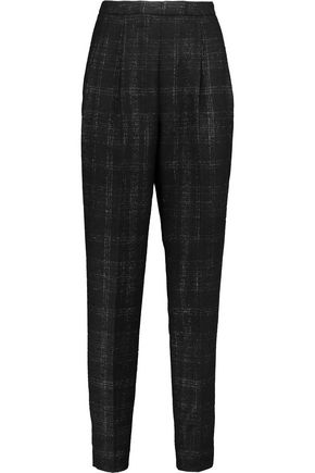 VIONNET Checked wool-blend tweed tapered pants