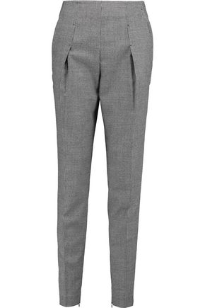 VIONNET Pleated houndstooth wool-blend tapered pants