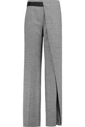 VIONNET Layered houndstooth wool-blend wide-leg pants