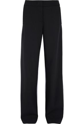 CEDRIC CHARLIER Ruffle-trimmed paneled wool and houndstooth wide-leg pants