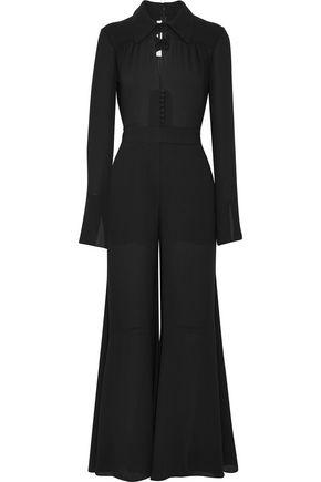 McQ Alexander McQueen Flared cutout crepe jumpsuit