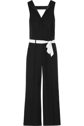 WOMAN BELTED TWO-TONED CUTOUT CREPE JUMPSUIT BLACK