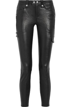 FRAME Embellished leather leggings