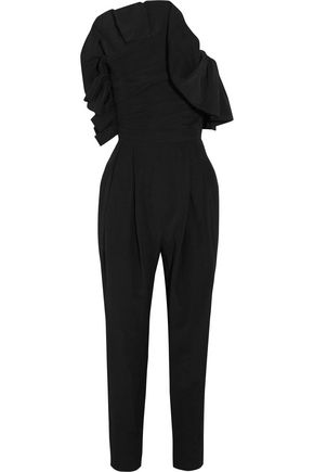 CARMEN MARCH Stapless ruffled taffeta jumpsuit