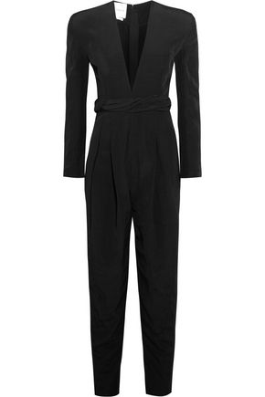 CARMEN MARCH Pleated crepe de chine jumpsuit