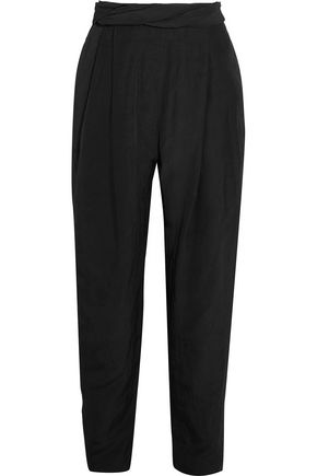 CARMEN MARCH Pleated crepe tapered pants