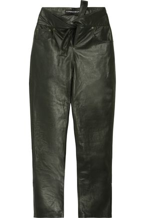 Y/PROJECT Knotted faux leather straight-leg pants