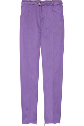 GUCCI Cropped belted stretch-cotton twill slim-leg pants