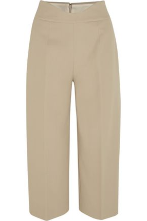 AGNONA Cropped stretch-cotton piqué wide-leg pants