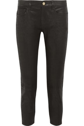 FRAME Cropped leather skinny pants