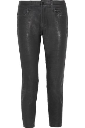 FRAME Cropped leather straight-leg pants